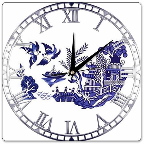 Square Wall Clock with Blue Willow Scene
