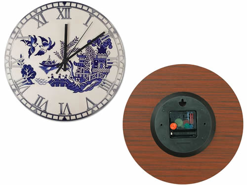 Front and Back of Wood Wall Clock with Blue Willow Motif