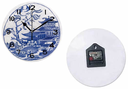 Front and Back of Wall Clock with Hand-painted-look Blue Willow Pagoda, Willow Scene