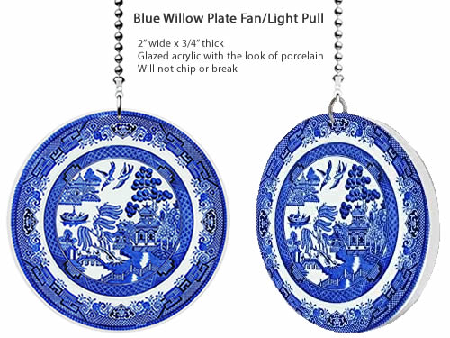 Gotham Decor Blue Willow Plate Fan Pull Ornament