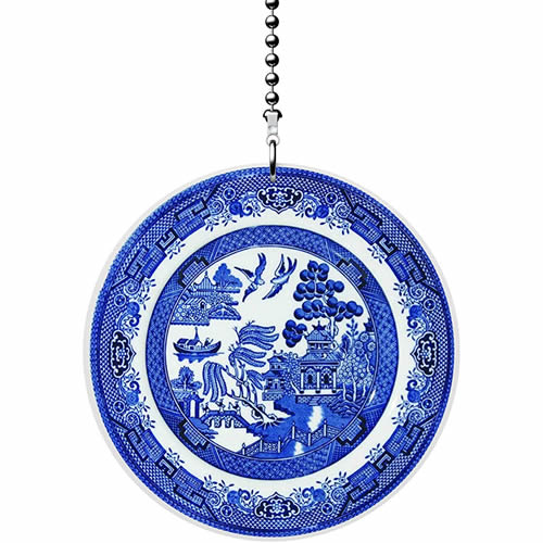 Gotham Decor Blue Willow Plate Fan Pull Ornament