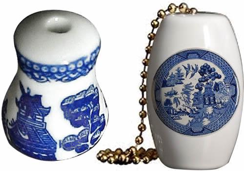 Blue Willow Plate Fan Pull Ornaments from eBay
