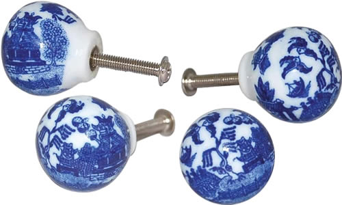 Blue Willow Cabinet Knobs with the Blue Willow Pattern under the fired on clear glaze will not wear off.