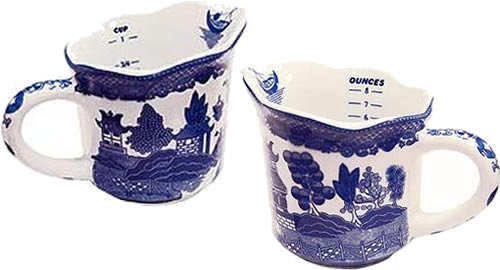Blue Willow Measuring Cup with Cups and Ounces markings inside