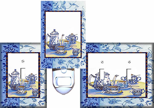 Blue Willow Teapot Switch Plate Covers and Night Light