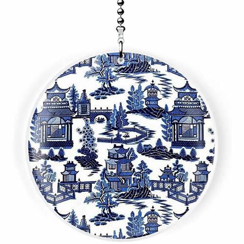 Gotham Decor Blue Willow Print Fan Pull Ornament