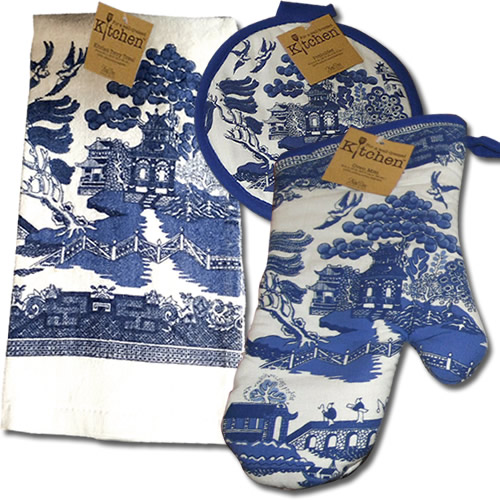 Kay Dee Designs Blue Willow Potholders, Oven Mitts and Kitchen Towels