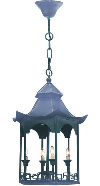 Distressed Dark Blue Shades on the A&B Home FD38410 Pagoda Chandelier from the Florence de Dampierre Collection