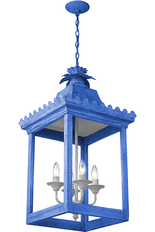 Blue paint with a White painted Socket Cluster and Top Reflector on Golden Lighting 0838-4P VS Finley Oriental Pendant