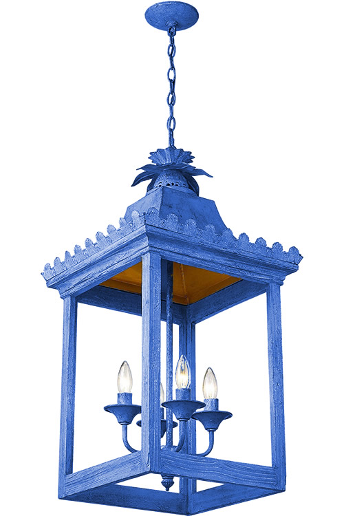 Bright Blue painted Golden Lighting 0838-4P VS Finley Oriental Pendant