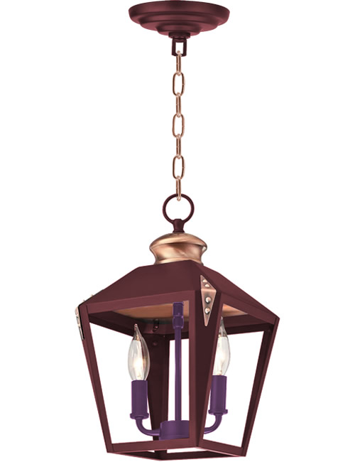 Rich Red with a pop of unexpected color on the purple socket cluster on the Westinghouse Valley Forge Pendant with Copper Accents