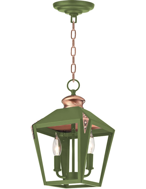 Green Paint contrasts with the Copper Details on the Westinghouse Valley Forge Pendant