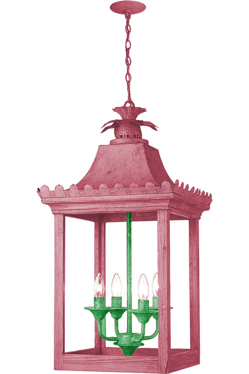 Pink and Green Paint on Golden Lighting 0838-4P VS Finley Oriental Pendant