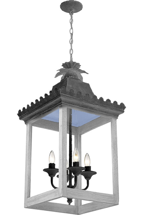 Black Socket Cluster with Dark Grey and Light Grey details on Golden Lighting 0838-4P VS Finley Oriental Pendant