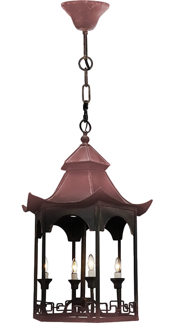 Distressed Rust and Black on a A&B Home FD38410 Pagoda Chandelier from the Florence de Dampierre Collection