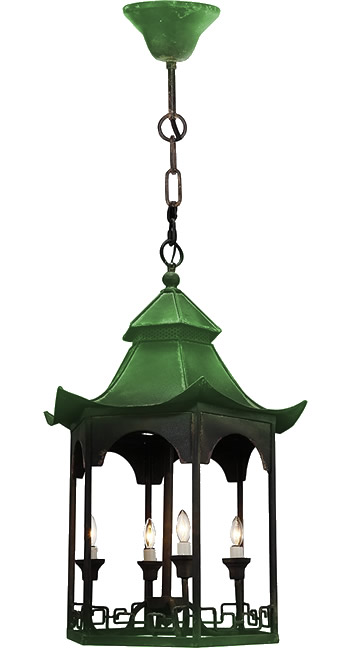 Distressed Green and Black on a A&B Home FD38410 Pagoda Chandelier from the Florence de Dampierre Collection