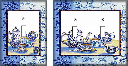 Blue Willow Teapot Switch Plate Covers