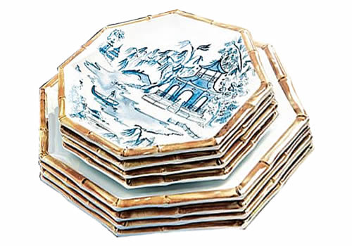 Ballard Designs Bamboo Melamine Dinner Plates with just the bamboo at the edge and Accent Plates with the Blue Willow scene and bamboo at the edge