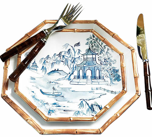 Ballard Designs Bamboo Melamine Dinner Plate with just the bamboo at the edge and Accent Plate with the Blue Willow scene and bamboo at the edge
