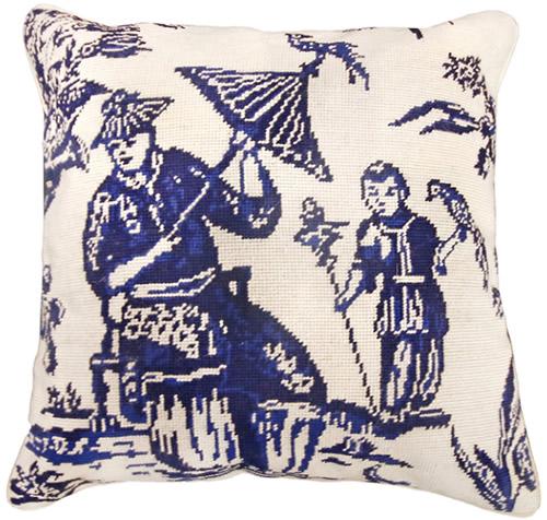 """Michaelian Home NCU492A Blue Boy with Bird 18"""" x 18"""" Blue Willow Needlepoint Pillow"""