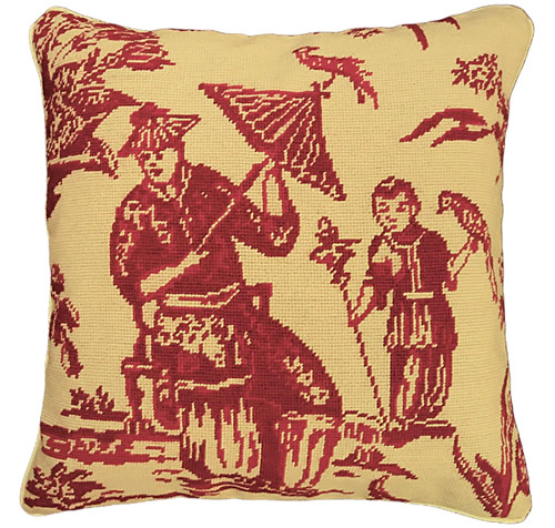 """Michaelian Home NCU492 Red Boy with Bird 18"""" x 18"""" Red Willow Needlepoint Pillow"""