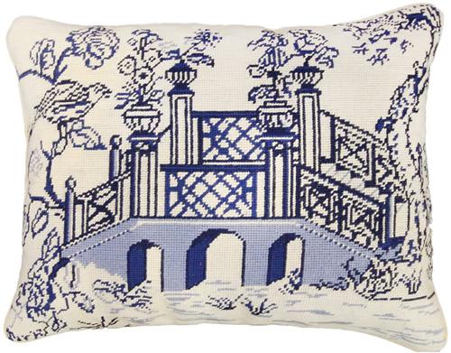 """Michaelian Home NCU490A Blue Bridge 16"""" x 20"""" Blue Willow Needlepoint Pillow"""