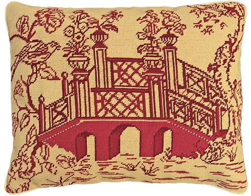 "Michaelian Home NCU490 Red Bridge 16"" x 20"" Red Willow Needlepoint Pillow"