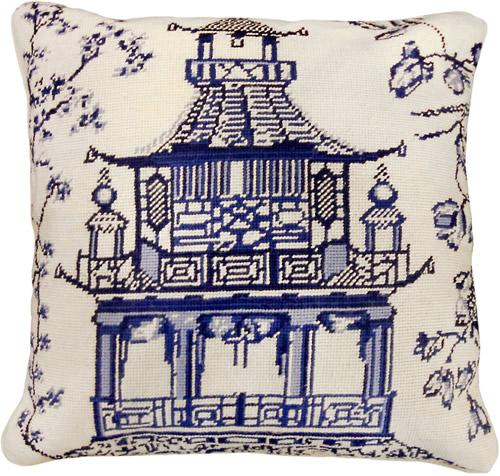 """Michaelian Home NCU488A Blue Pagoda 18"""" x 18"""" Blue Willow Needlepoint Pillow"""