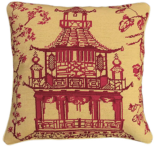 """Michaelian Home NCU488 Red Pagoda 18"""" x 18"""" Red Willow Needlepoint Pillow"""