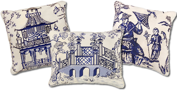 Michaelian Home Blue Willow Needlepoint Pillows