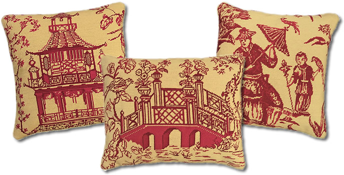 Michaelian Home Willow Needlepoint Pillows in Red on Gold