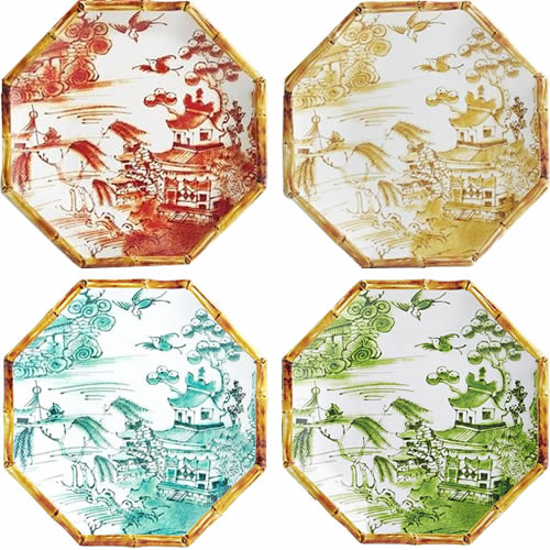 Pier 1 Chinoiserie Melamine Dinnerware with Bamboo Edge and Willow Scene in Orange, Yellow, Turquoise and Green