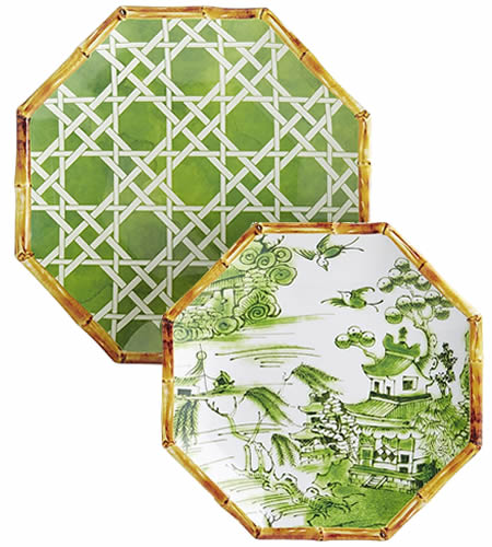 Pier 1 Green Lattice Melamine Plate and Coordinating Green Chinoiserie Accent Plate with Blue Willow Scene