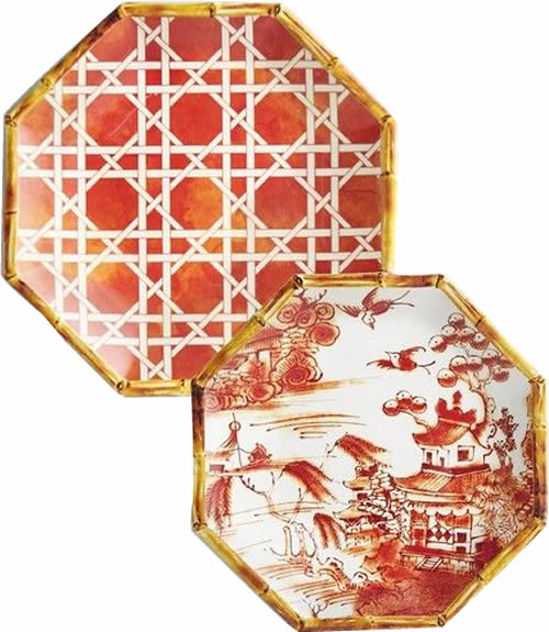 Pier 1 Orange Lattice Melamine Plate and Coordinating Orange Chinoiserie Accent Plate with Blue Willow Scene