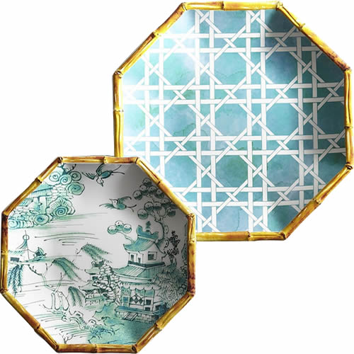 Pier 1 Turquoise Lattice Melamine Plate and Coordinating Turquoise Chinoiserie Accent Plate with Blue Willow Scene
