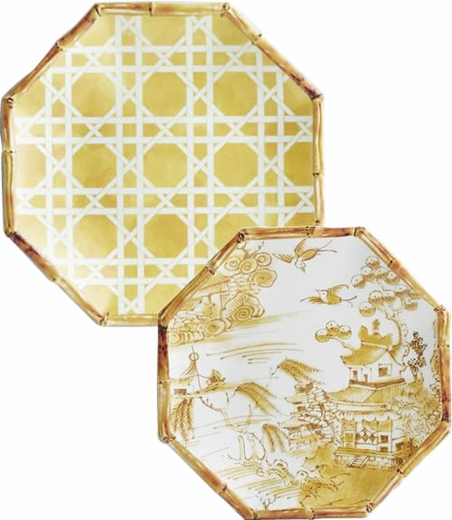 Pier 1 Yellow Lattice Melamine Plate and Coordinating Yellow Chinoiserie Accent Plate with Blue Willow Scene