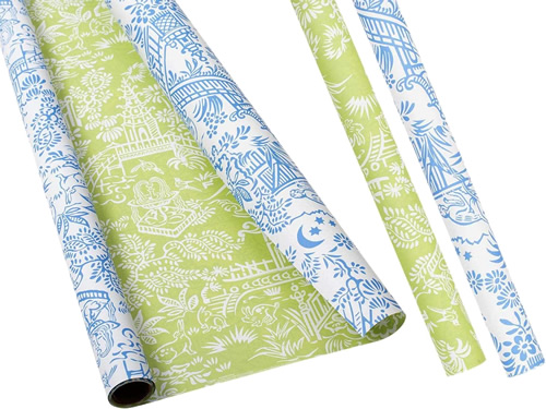 Caspari Pagoda Toile Green and Blue with White Reversible Wrapping Paper
