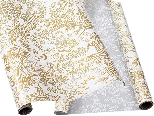 Caspari Pagoda Toile Gold and Silver Reversible Wrapping Paper