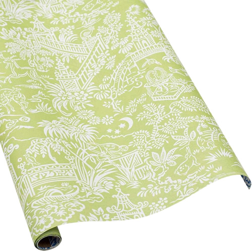 Caspari Pagoda Toile Green and White Wrapping Paper