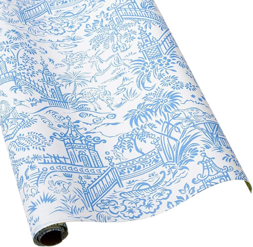 Caspari Pagoda Blue and White Chinoiserie Toile Wrapping Paper