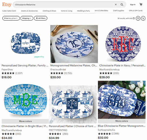 Chinoiserie Melamine on Etsy