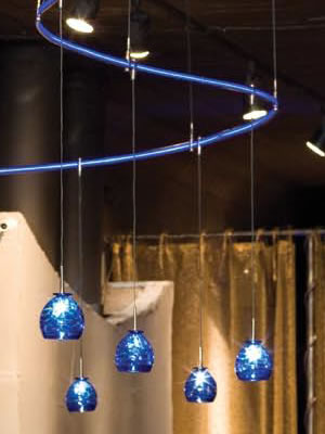 Curved LED Illuminated Monorail with Blue LED Generator and Gelato Pendants in Blue, Cable suspended