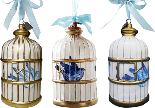 Eric Cortina Blue Willow Bird in a Cage Ornaments