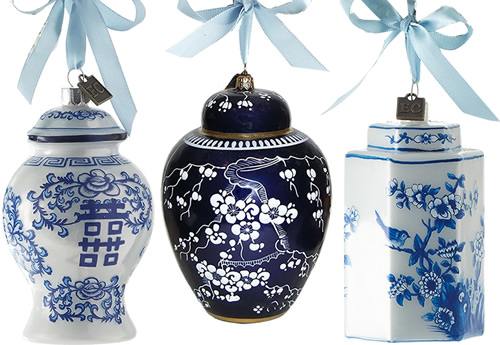 Eric Cortina Blue and White Ginger Jar Ornaments