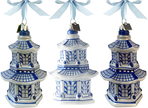 Eric Cortina Blue and White Pagoda Ornaments