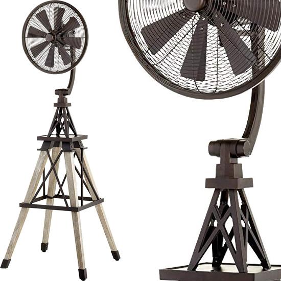 Quorum 39158-86 Oiled Bronze Windmill Floor Fan with Weathered Oak Blades