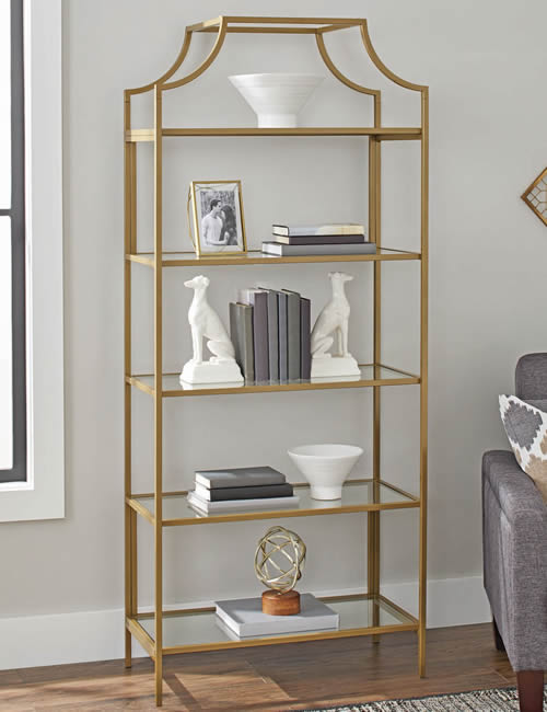 """Better Homes and Gardens Nola shelves are 30"""" wide, 72"""" high and 14.5"""" deep. The gold color is not metallic. It is gold paint on wood with glass shelves."""