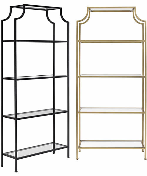 """The Crosley Furniture Aimee Pagoda Etagere Bookcase is the same size, 36"""" wide, 80"""" high and 12"""" deep. It is available in Gold or Oil-Rubbed Bronze."""