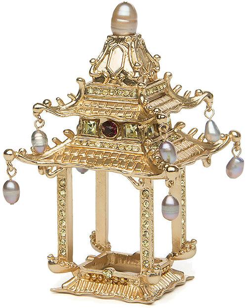 L'Objet NJ6501 Gold Pagoda Napkin Jewel Napkin Ring