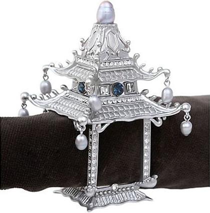 L'Objet NJ6500 Platinum Pagoda Napkin Jewel Napkin Ring